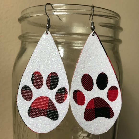 c7fc560c Leather drop buffalo plaid paw print earrings NWT